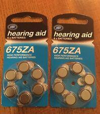 12 x Boots Zinc Air Hearing Aid Batteries 675ZA 1.4 V 675 675AE PR44 DA675 ZA675