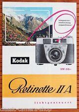 Kamera Prospekt KODAK RETINETTE IIa Broschüre Werbeheft von 1959 (X2896