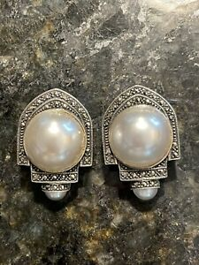 Judith Jack Sterling Marcasite Faux Mabe Pearls Post Pierced Omega Back Earrings