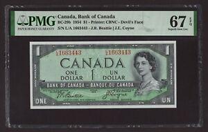 Canada 🇨🇦 1954 - $1 Devil's Face - Beatie|Coyne Sig- PMG Superb Gem UNC 67 EPQ