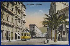 PALERMO via Roma animata tram no viaggiata anni 20 f/p#10521