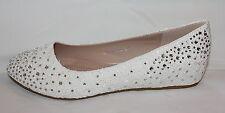 Bailarina Zapatos de Tacón Novia Blanco Encaje - Pequeño Cuña B3031H-BL