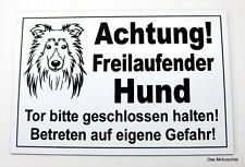 Achtung freilaufender Hund,Sheltie,Gravur Schild,12 x 8 cm,Hundeschild,Warnung