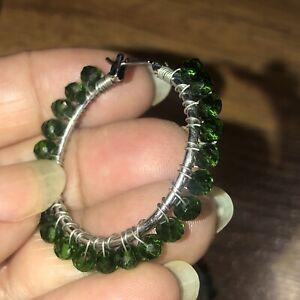 Silver Tone Wire Wrap Emerald Green Crystal Beaded Hoop  Earrings