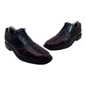 Allen Edmonds Polo Men's Sz 9.5 A Burgundy Black Leather Saddle Oxfords Shoes