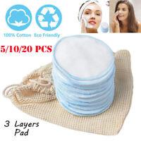 5/10/20Pcs Bamboo Reusable Makeup Remover Pads Washable Facial Cotton Pads-