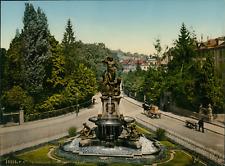 St. Gallen. Broderbrunnen. PZ vintage photochromie, Deutschland photochromie,