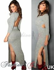 Polyester Patternless 3/4 Sleeve Maxi Dresses for Women
