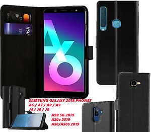 Leather Magnetic Flip Wallet Cover For Samsung Galaxy A6 A7 A8 A9 J4 J6 J8 more
