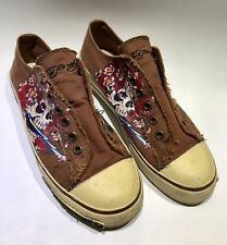 "DON ED HARDY ""LOVE"" Low-rise Slip-on Sneakers Shoes Canvas Fish Purple Size 5M L"