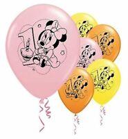"6 pc 12"" Disney Minnie Mouse 1st Birthday Party Latex Balloons Happy Birthday"