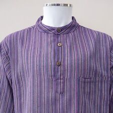 Hippy Casual Unisex GRANDAD SHIRT in PURPLE Cotton Stripe - Fair Trade,UK seller