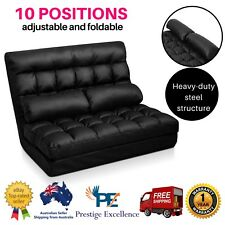 Sofa Bed Fold Adjust Floor Chaise Lounge Chair PU Leather 2Seater Mattress Black