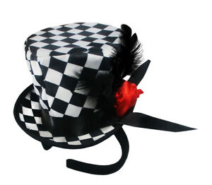 Mini Checkered Top Hat Headband Harlequin Clown Rose Circus Cosplay Costume