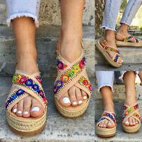 Women Platform Boho Slingback Sandals Peep Toe Espadrille Comfy Beach Shoes Size