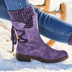 2021 New Winter Plus Size Women's Boots Square Heel Lace-up Mid-to-low-tube
