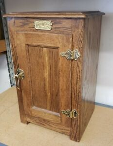 Vintage White Clad Ice Box Oak Side Table Night Stand plant stand cabinet
