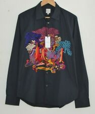 PAUL SMITH black shirt DREAMER embroidered psychedelic long sleeve MEDIUM