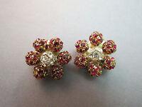 Red Rhinestone Flower Earrings Clip On Cluster Early Plastic Prong Set Balls VTG