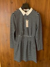 ONLY DRESS Black White Striped Shift Peter Pan Collar Stretch M / UK 12 / 40 NEW