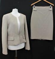 HOBBS Ladies Beige Stretch 2-Piece Long Sleeve Jacket & Pencil Skirt Suit UK12