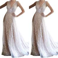 Women Sleeveless Deep V-Neck Maxi Dress Cocktail High Waist Sundress Ballgown