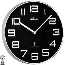NEU Funk Wanduhr Uhr Funkuhr Atlanta schwarz weiß Büro Business Metallrahmen