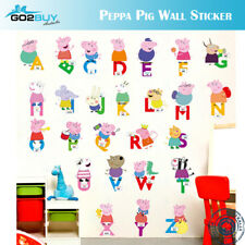 Wall Stickers Removable Peppa Pig Alphabet Kids Nursery Decal Room Cartoon  C