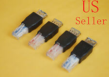 4PC USB A Female F to Ethernet RJ45 Male Router Adapter Plug Socket LAN Network