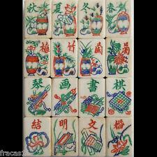 Vtg 1920s 16 Flowers, 160 Tiles Bone Bamboo Mahjong Set Lacquer Racks  Mah Jongg