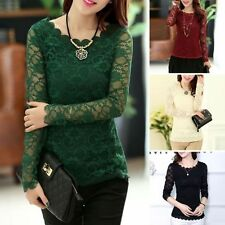 Fashion Womens Casual Long Sleeve Hollow Lace Blouse Ladies Loose Tops T-Shirt