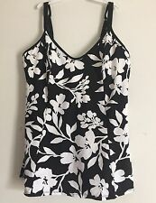Kirkland By Miraclesuit - Black with White Floral Print - Size: 10          F-10