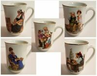 1982 NORMAN ROCKWELL Vintage Collectible Cups, Various Titles
