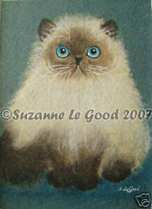 Persian Colourpoint Cat art ACEO print from original painting Suzanne Le Good