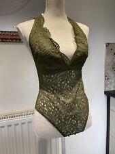 Topshop Bodysuit Lace Khaki Green Lined Top Vest Size 12