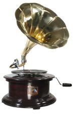 Grammophon Runde in Holz aus Mahagoni mit Trompete Messing Glatt Funktioniert