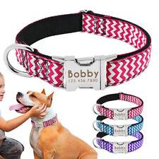 Personalised Nylon Dog Collar Custom Adjustable Engraved Pet ID Name Tag Collar