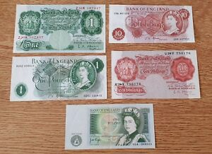 Set of 5 Old English Banknotes in Good Clean collectable condition.