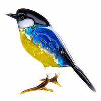 "Glass Tit Bird Animal Figurine, Handmade Hand Blown Art Glass Figure 3"""