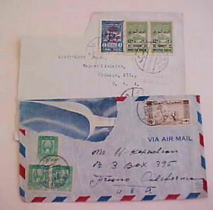 SYRIA  COVERS  2 DAMAGED TO USA WITH TAX STAMP