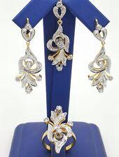 RUSSIAN STYLE 14K YELLOW / WHITE GOLD DIAMOND EARRINGS RING PENDANT JEWELRY SET