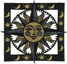 """5.5"""" Pagan Astrology Sun Moon Stars Crest Embroidery Patch"""