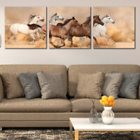 Wall art decoration set of 3pcs Print Picture Wild horses Canvas PVC Size S/L/M