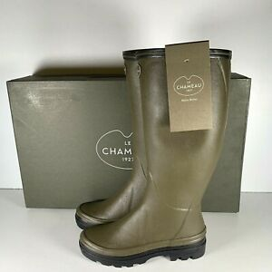 Le Chameau BTE Giverny Womens Vert Chameau Green Jersey Lined Boots Size UK 6.5
