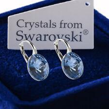 925 Sterling Silver Earrings *DENIM BLUE* Genuine 12mm Crystals from Swarovski®