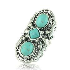 Ethnic Bohemian Carving Finger Ring Turquoise Knuckle Ring Adjustable Ring