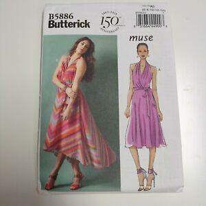 Butterick 5886 B5886 Muse Halter Dress Pattern NEW Uncut Sz 6 - 14