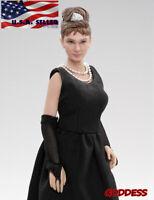 "1/12 scale Audrey Hepburn Head Sculpt Dress Accessories Set For 6"" Figure ❶USA❶"