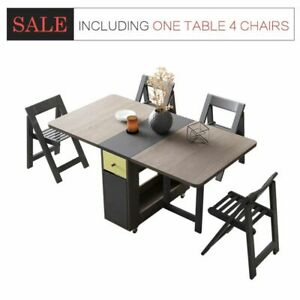 Wooden Foldable Dining Table Home Furniture Multifunctional Tables 4Chairs Sets