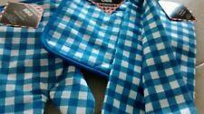 New Kitchen BBQ 4 Piece Potholder Oven Mitt Towel Set Blue White checkered